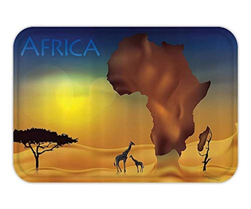 BagsPillow Doormat Decor Set Illustration with Savanna GiraffeExotic Tropic LandCulture Wild Nature Art Bathroom Accessorie Extralong Orange Chocolate Blue.jpg 62 Chocolate Mold