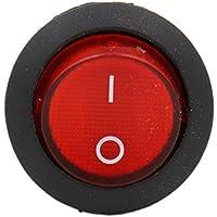 heschen rojo Ronda Rocker Interruptor Redondo SPST ON-OFF 3Terminales 10A 250VAC UL VDE 5unidades
