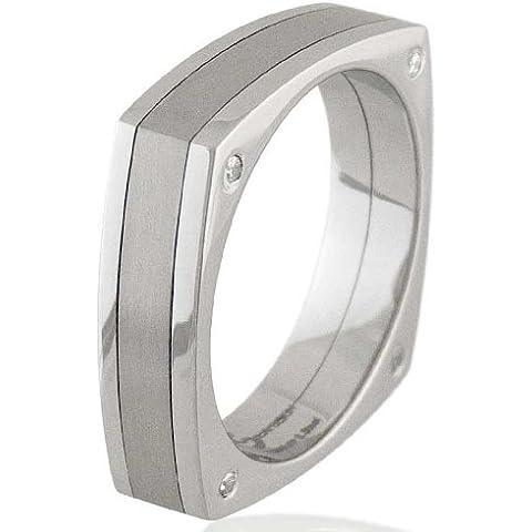 Caballeros dos-Tono de titanio y Acero con Zirconia cúbico anillo cuadrado cristales