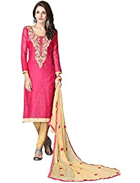 FKART Special Offer Women's Pink Embroidered Cotton Semi Stitched Salwar Suit With Dupatta (FK-NL-103_FREE_SIZE)