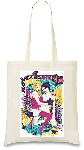 Frauen Art Kein Pornostar - Not A Porn Star Custom Printed Tote Bag| 100% Soft Cotton| Natural Color & Eco-Friendly| Unique, Re-Usable & Stylish Handbag For Every Day Use| Custom Shoulder Bags By