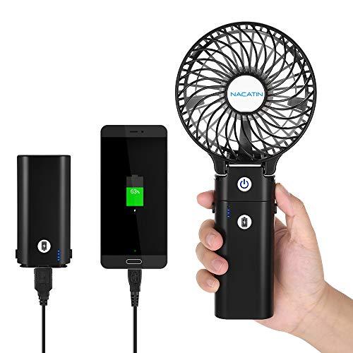 NACATIN Mini Ventilatore Portatile palmare Ventola USB Ricaricabile Ventola a Batteria con Funzione Power Bank Ventilatore Pieghevole Porto Fan per All'aperto e al Coperto (5200mAh)