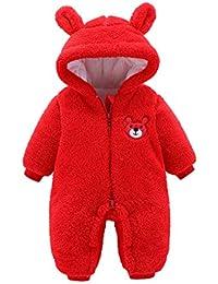 Fossen Kids Ropa de Bebe Niña Recien Nacida Cremallera Caricatura Mameluco Abrigo de Niño Niña - Monos Ropa Bebe Niña Otoño Invierno 0-12 Meses