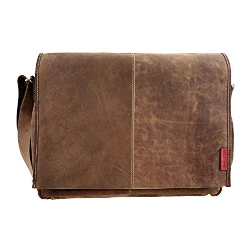 Laptoptasche/Messenger-Bag aus geöltem Buffalo-Leder - Extremely rugged Outback Wear, Farbe:Natural Buckskin, 42x29x9 cm, Natural Buckskin