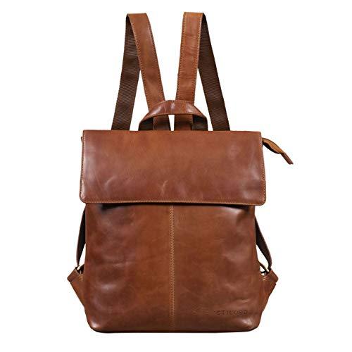 STILORD 'Charlie' Vintage Lederrucksack Braun Mittelgroßer Daypack für Damen Herren 13,3 Zoll Laptop Rucksack aus Echtem Leder, Farbe:Cognac - braun