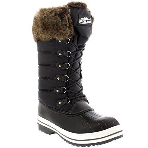 Damen Nylon Warm Side Zip Pelz Ente Dreck Schnüren Regen Winter Schnee Stiefel Grau