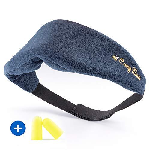 Cozy BeeTM Reise Schlafmaske - Bequeme Memory-Schaum-Foam Augenmaske für erholsamen Schlaf - Waschbare Schlafbrille für Damen und Herren - 100% Blickdicht - Blau -