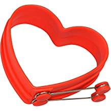 Chefrino Spiegeleiform für Bratpfanne - 2er Pack Pfannkuchen-Form Herz aus Silikon (rot)