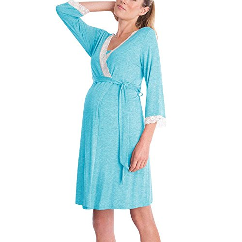 QinMM Vestido de Lactancia Maternidad de Noche Camisón Mujeres Embarazadas Ropa de Dormir Premamá Pijama Verano Encaje (Azul-Larga, XL)