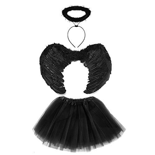 Lizzy® Deluxe Kinder Mädchen Halloween Tutu Kostüm Set Dark ()