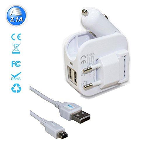 Exlene® 3DS Cargador USB para coche y pared con cable de 1.2M 3DS para Nintendo 3DS, 3DS XL, 2D, DSi, DSi XL, iPhone, ipad, Smartphone y más (Blanco)