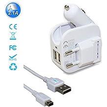 Exlene® 3DS USB Chargeur de voyage voiture et mur avec 1,2 m 3DS câble pour Nintendo 3DS, 3DS XL, 2DS, DSi, DSi XL, iPhone, ipad, Smartphone et plus (blanc)