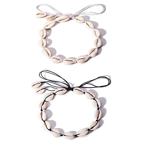 2 Stück Natürliche Muschel-Choker handgefertigt Hawaii Cowrie Muschel Halskette Strand Choker Verstellbare Halskette für Frauen Mädchen