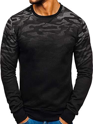 BOLF Herren Sweatshirt ohne Kapuze mit Rundhalsausschnitt Camo Army Motiv J.Style DD133-2 Dunkelgrau M [1A1]