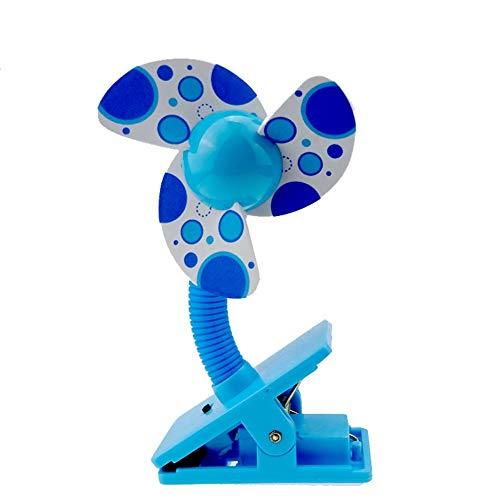H-ONG Clip On Fan Baby Stroller Mini Fan with USB Portable Table Fan Crib Car Seat Handheld Small Fan Desk Fan Home Travel Office Fans Powered by Battery USB (Blue)