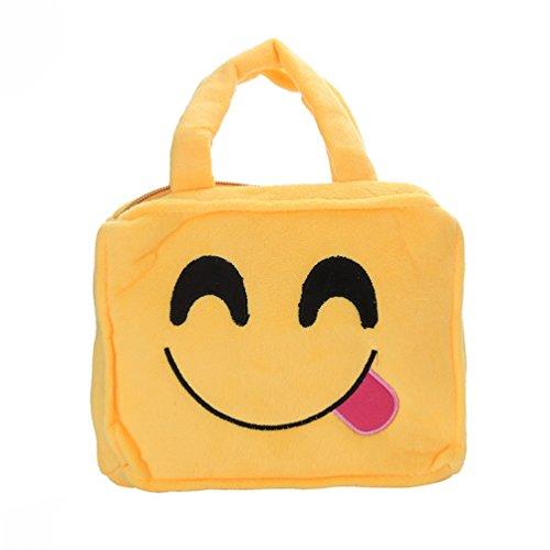 Bluelans Funny cute Emoji Face Expression bambini peluche borsa borsetta cartella, 2#, 26.5cm x 20cm x 4.5cm/10.43 x 7.87 x 1.77 2#
