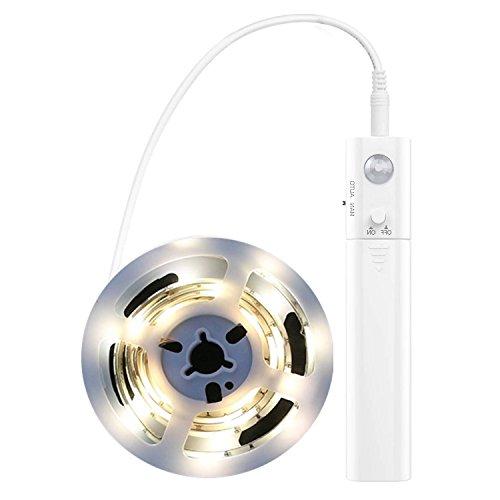 OCMCMO 30LED 1M tira luz cuerda,Luz Armario Luz LED Nocturna con Sensor de Movimiento para Pasillo Baño Armario Cocina(funciona con 4 pilas AAA, No Incluidas) [Clase de eficiencia energética A+]