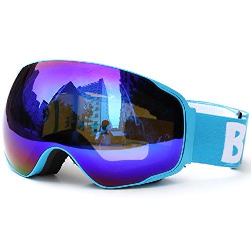 Benice?-4200 Series SNOW-Specchio Extra large, lenti sferiche a specchio, protezione UV-Maschera da sci, sci e sport invernali