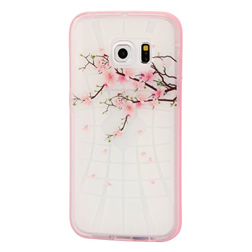 iPhone 6S Hülle, iPhone 6 Silikon Hülle Combo Tasche Handyhülle, iPhone 6S TPU Gel Bumper Case Weiches Silikon Schutzhülle, SainCat Silikon Crystal Kirstall Clear Case Durchsichtig Malerei Muster Tran Pfirsichblüte