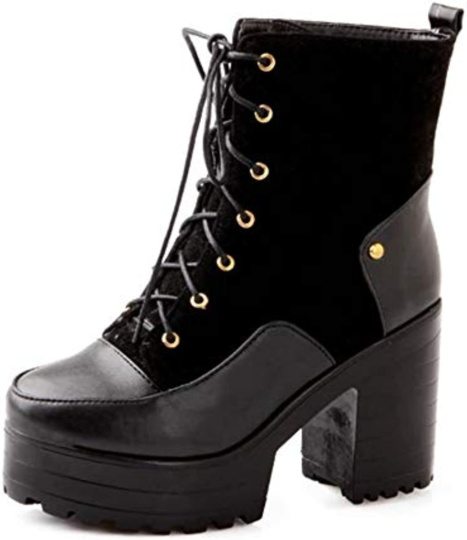 YSFU stivali Stivali da Donna Martin Tacco Spesso Lace Up Fashion Casual Scarpe da Donna Stivaletti Piatto Antiscivolo... | Qualità Affidabile  | Uomo/Donne Scarpa