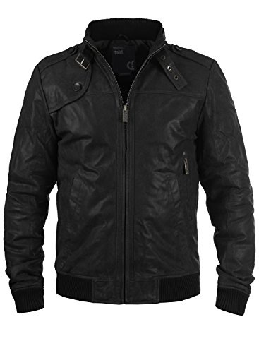 !Solid Dash Chaqueta de cuero, Talla:L;Color Black (9000)