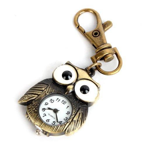 Yesurprise Bronze Farbe Eule Anhnger Quarz Uhr Taschenuhr Schlsselring Damen Kinderuhr Geschenk Xmas Gift key watch