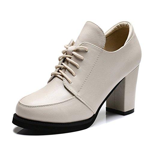 Damen Pumps Plateau Aufzug High Heels Runde Zehen Schnürsenkel Reißverschluss Blockabsatz Kurzschaft Elegante Schuhe Beige