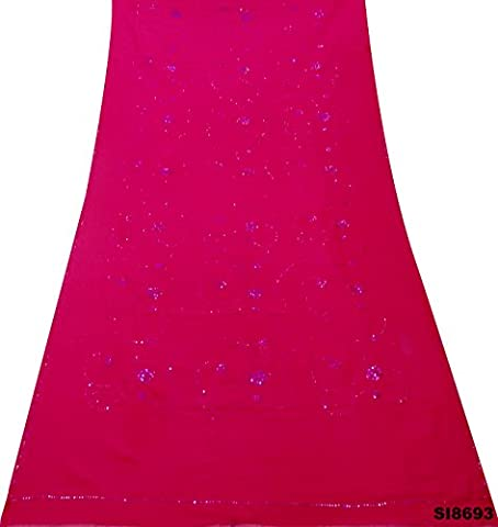 Vintage Indian Saree Embroidered Wrap Sequins Work Floral Design Wrap Georgette Chiffon Pink Dress Home Décor DIY Craft Used Fabric Women Fashion Ethnic Sari
