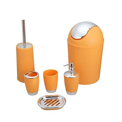 GJFeng PP en Plastique Salle De Bains Six Pièces Produits De Bain Ensemble Salle De Bains Hôtel Poubelle Peut Brosse À Dents Tasse (Color : Orange)