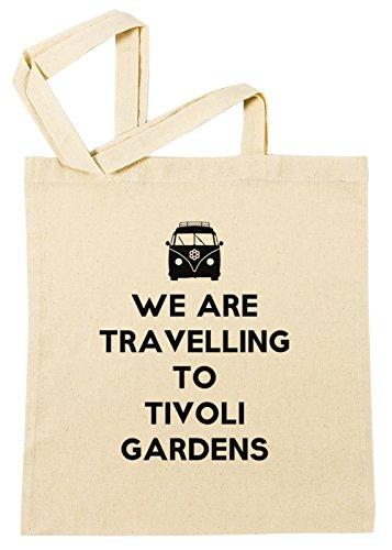 Erido We Are Travelling to Tivoli Gardens Einkaufstasche Wiederverwendbar Strand Baumwoll Shopping Bag Beach Reusable