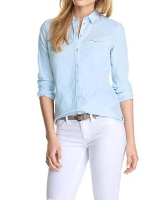 ESPRIT Damen Regular Fit Bluse mit Jacquard-Muster 034EE1F012, Gr. 34, Blau (SKYBLUE)
