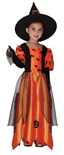 Lukis Hexen Kostüm Mädchen Halloween Kostüm Kinderkostüm Hexen Kleid und Hut M 4-6 (Alt Kostüme Jahre Süße 10 Halloween)
