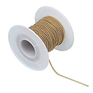 B Baosity 10 Yards Edelstahl Flachkabel Link Kette Metallkette Gliederkette Kabelkette zum Basteln für Halskette Fußkettchen Herstellen Gold