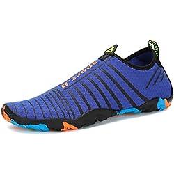 Voovix Zapatos de Agua Hombre Escarpines Transpirables Water Shoes Ligera Zapatillas de Surf Playa Natación Yoga Piscina(Azul,43)