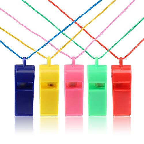 ife Plastik Trillerpfeife Whistle mit Lanyard für Kinder Schule Sport, 5 Farbe ()