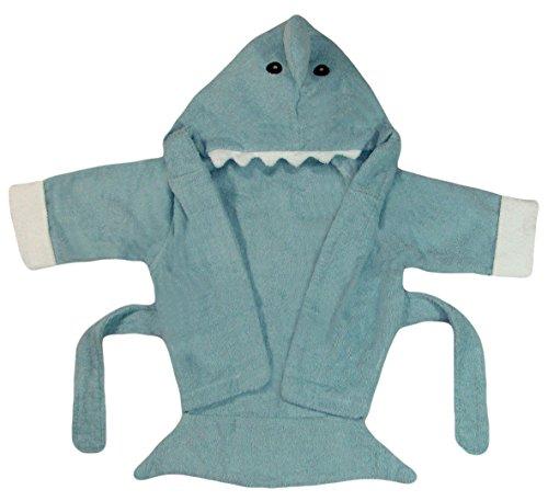 Bomio Baby Bademantel mit Kapuze aus hautfreundlichem Frottee (Hai, Blau) | One size