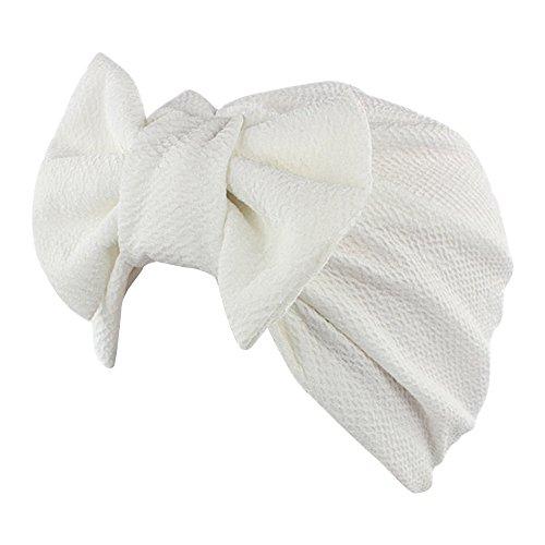 iShine Indien Turban Cap Moslemin Turban Weibliche Elastic mit Groß Schleife Monochrome Kopftuch Mütze für Haarausfall Krebs Chimio (Biker Weiblich Kostüm)