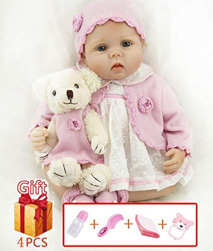 ZIYIUI Echt aussehende 22 Zoll wiedergeborene Puppen weiches Silikon Vinyl lebensechte wiedergeborene Babypuppen Mädchen Junge