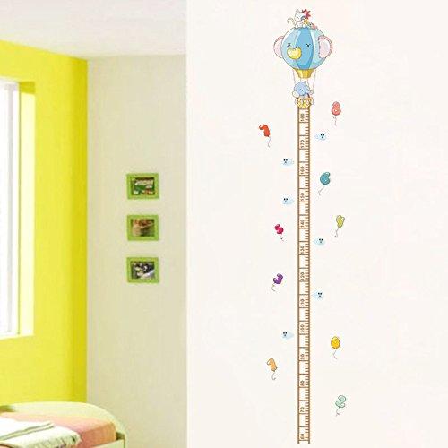 Pegatina pared puertas medidor altura niños vinilo decorativo elefante y globo de aire para cuartos bebes niños juegos guarderias colegios de CHIPYHOME