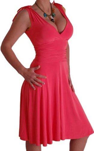 EyeCatchClothing - Sasha verführerisches Kleid in griechischem Style Coral Gr. 14 UK / 42 EU (Griechische Kleider Für Mädchen)