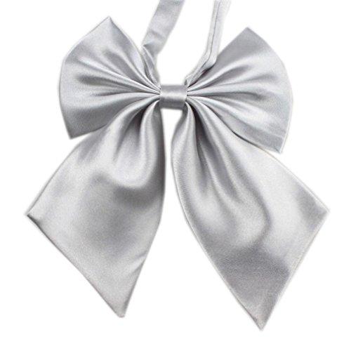 Krawatten Damen Bowknot SOMESUN Uniformen Cosplay Einfarbig Student Maedchen Arbeiten Fliege Bowknot Krawatten (Silber)