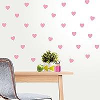 42 unds pegatinas pared corazones rosas 3 x 4 cm para dormitorios infantiles bebes salon hall de OPEN BUY
