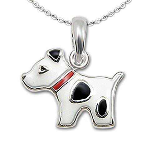 Clever Schmuck Set Silberner kleiner Kinder Anhänger Mini Hund 13 x 10 mm rot schwarz weiß und Kette Anker 40 cm glänzend STERLING SILBER 925