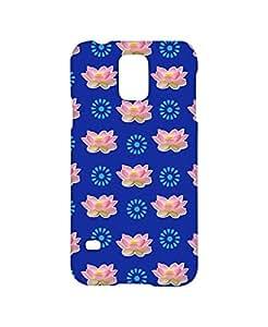VDESI Designer Matte Finish Plastic Back Cover For Samsung Galaxy S5 (SM-G900I)- Lotus_Pttrn (Blu)