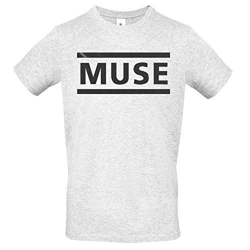 LaMAGLIERIA Herren-T-Shirt Muse Black Print - 100% Baumwolle Single Jersey Rock Band, XL, Grau Ash