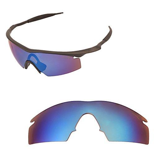 Walleva Ersatzlinsen oder Objektive mit schwarzem Nosepad für Oakley M Frame Strike - 40 Optionen erhältlich, Herren, Ice Blue Coated- Mr. Shield Polarized