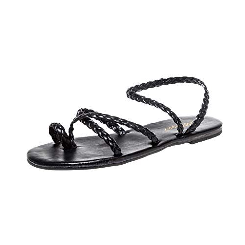 Lilicat Promozione della Moda Sandali Donna Estate Sandalo Incrociato con Cinturino alla Caviglia Bendare Eleganti Infradito Scarpe Romane Pantofole Intrecciati(Nero 1,43 EU)