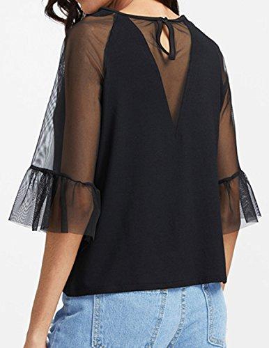 MODETREND Damen T-Shirt mit Netz-Garn Spleiß V-Ausschnitt Schwarz Shirt Sommer Oberteile Tops Schwarz
