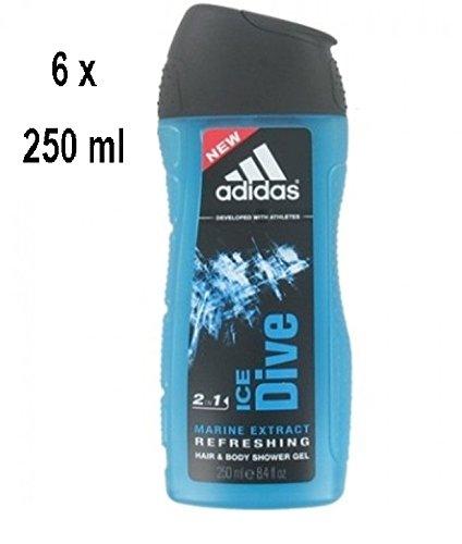 "6 x ADIDAS ""Ice Dive"" 2in1 Refreshing Duschgel Haare & Körper - 250 ml"