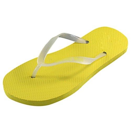 Heheja Unisexe Mode Clip Toe Tongs Eté Confort Casual Plage Flip Flop Jaune